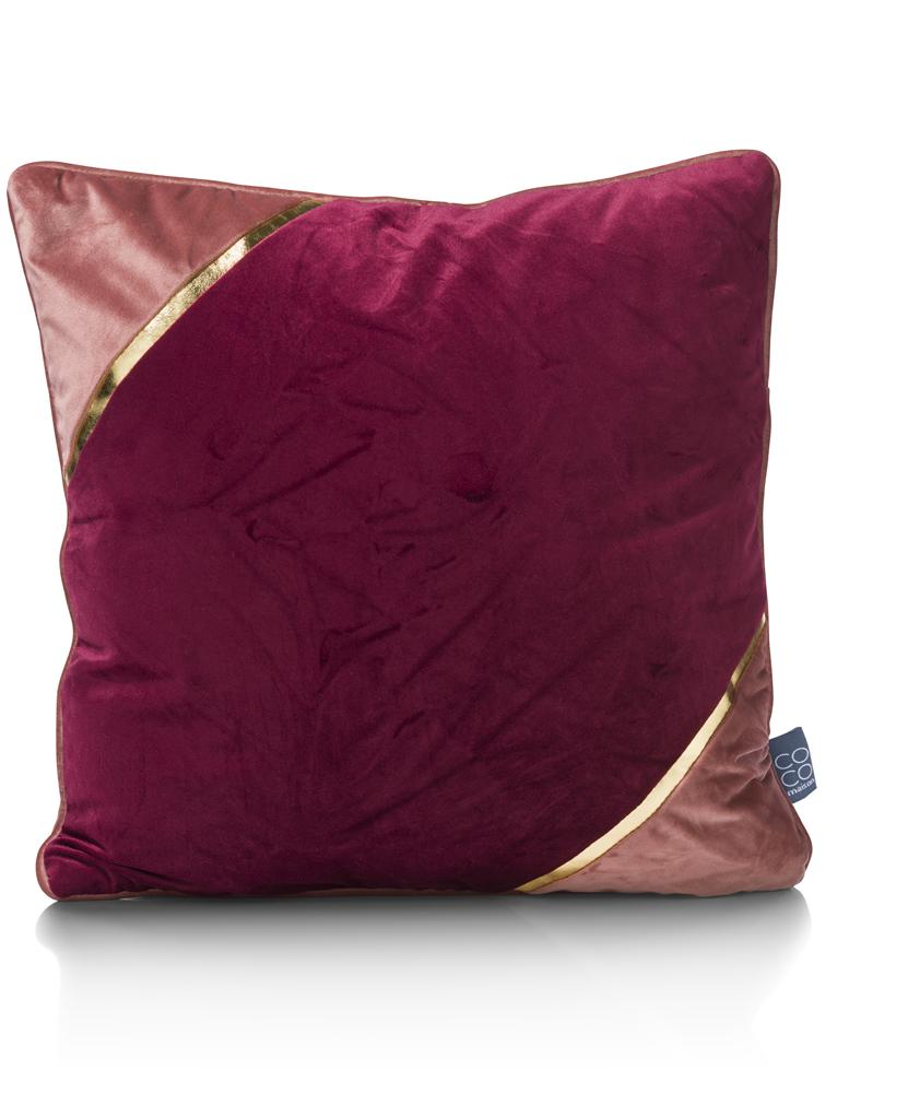 coussin carré rouge rose or