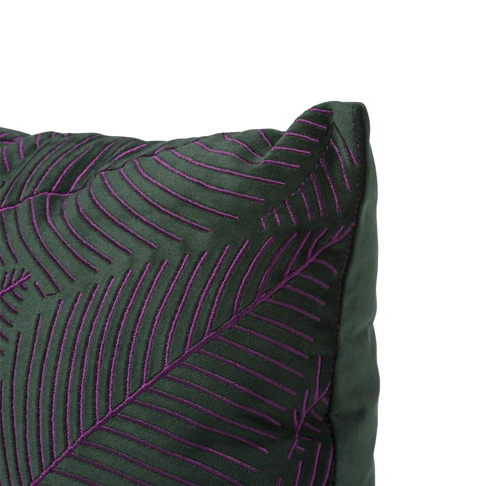 Coussin carré vert violet broderie feuille