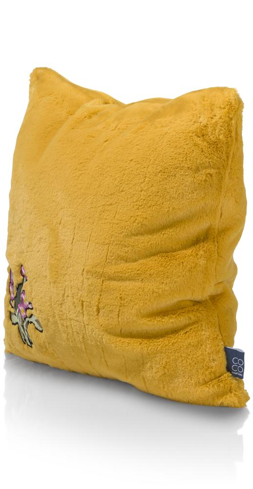 Coussin carré jaune moutarde broderie