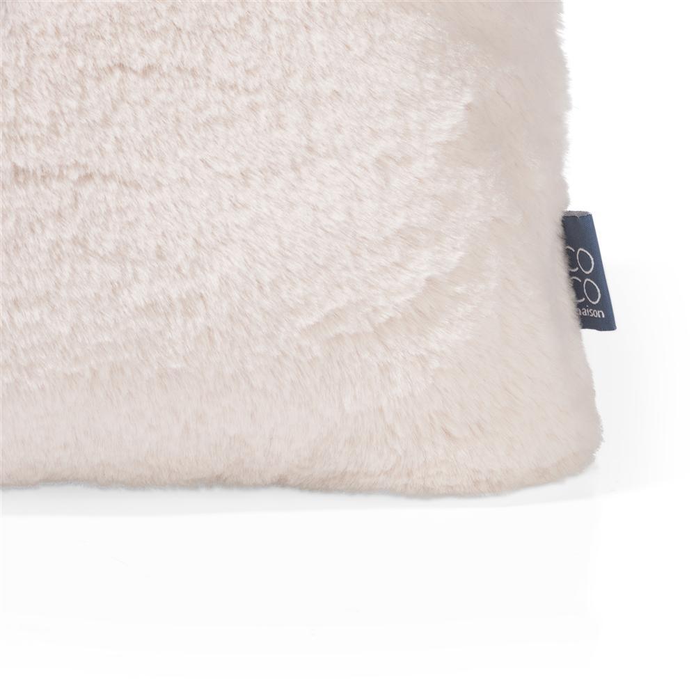 Coussin rectangulaire beige broderie oiseau