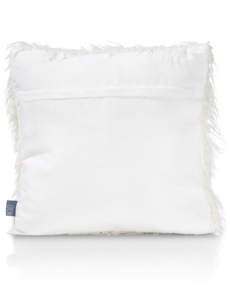 coussin carré blanc fourrure