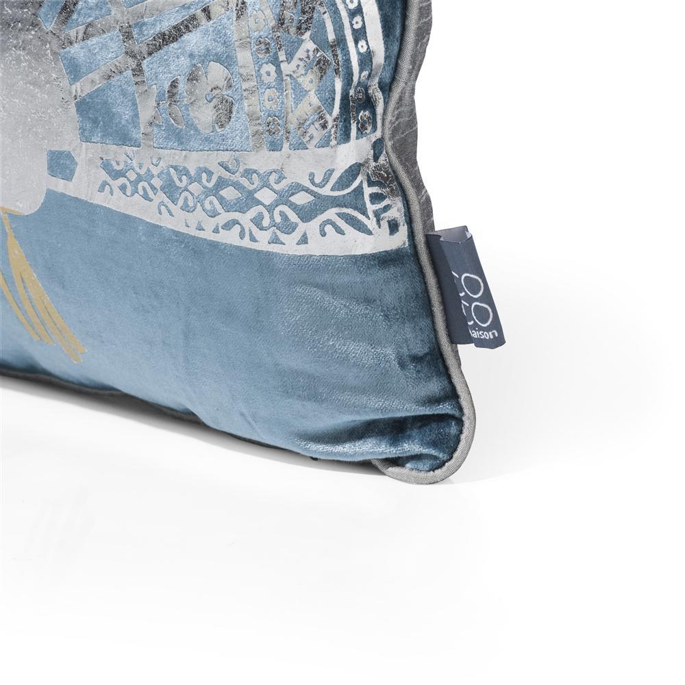coussin rectangulaire bleu motifs argentés