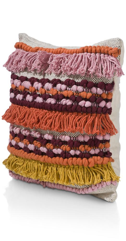 coussin carré coloré à franges et pompons
