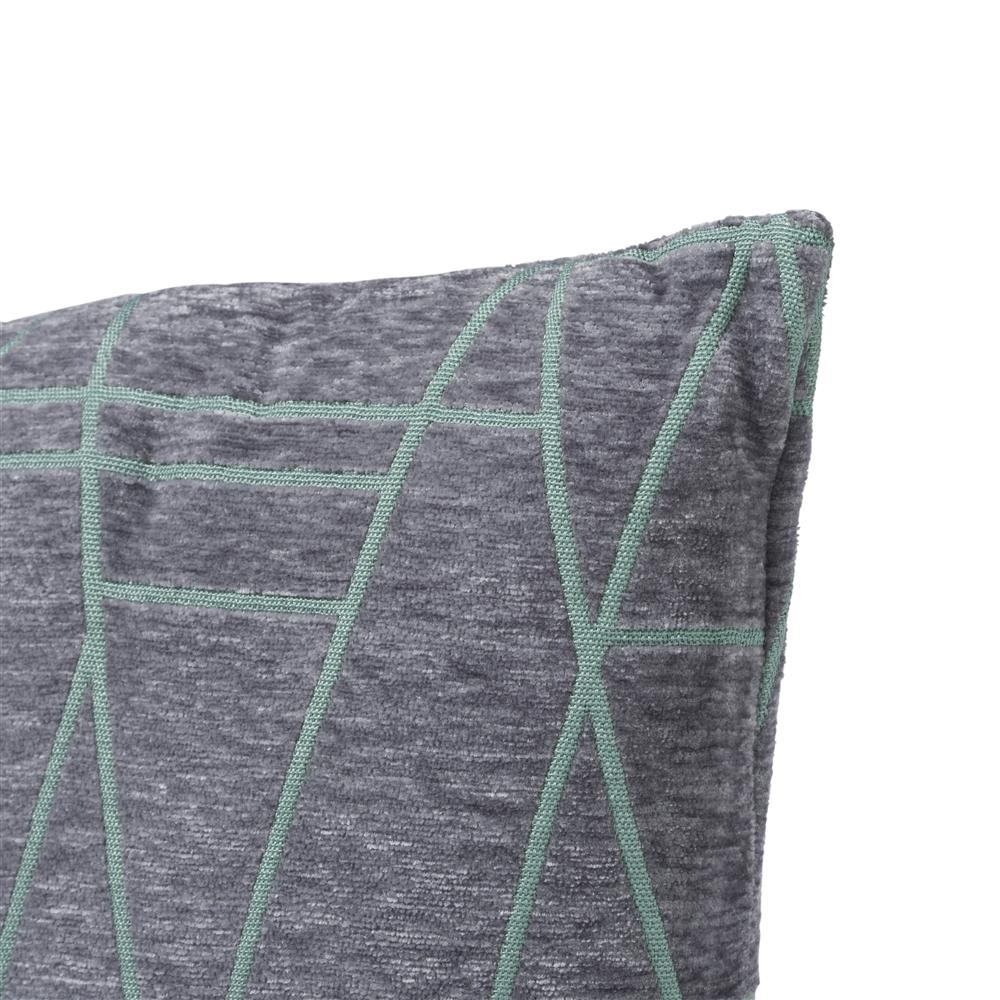 Coussin carré gris lignes vertes