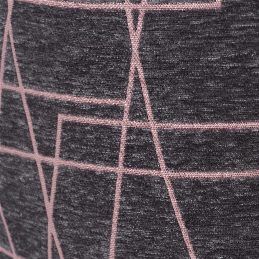 Coussin carré gris lignes rose