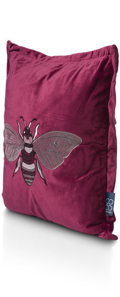 coussin carré rouge motif abeille