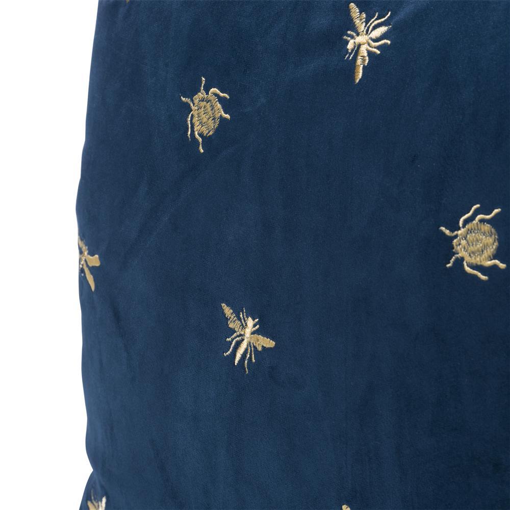 coussin carré bleu motif insectes