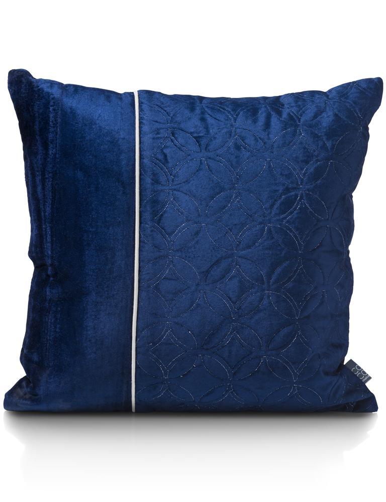 coussin carré bleu marine liseret contrastant