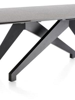 Table grise contemporaine pieds noirs