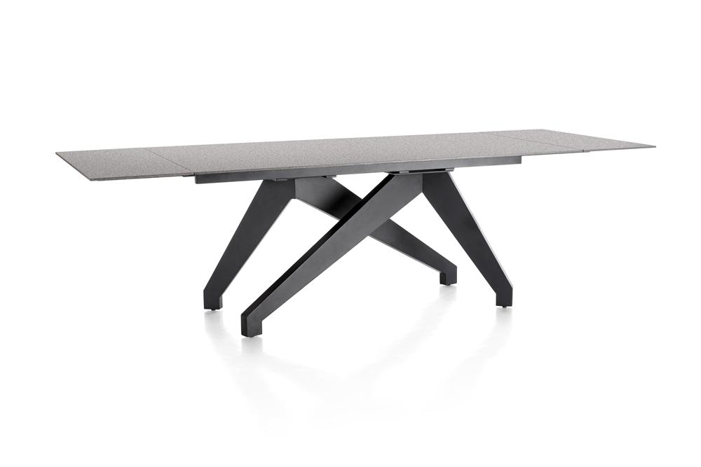 Table grise contemporaine pieds noirs