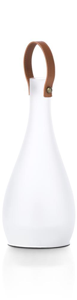 Lampe à poser blanche déco poignée marron