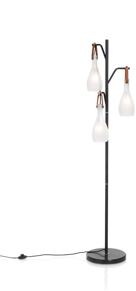 Lampe sur pied noir 3 ampoules blanches déco marron