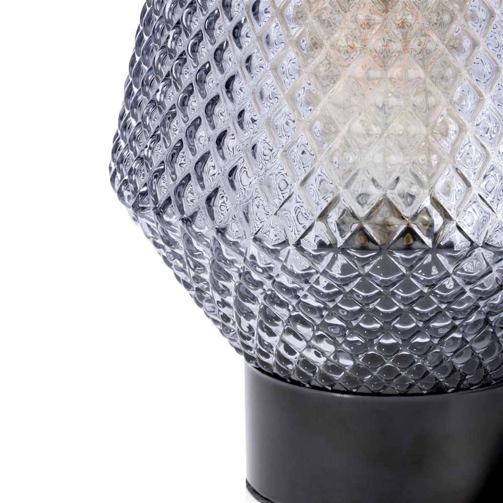 Lampe à poser en verre gris socle noir