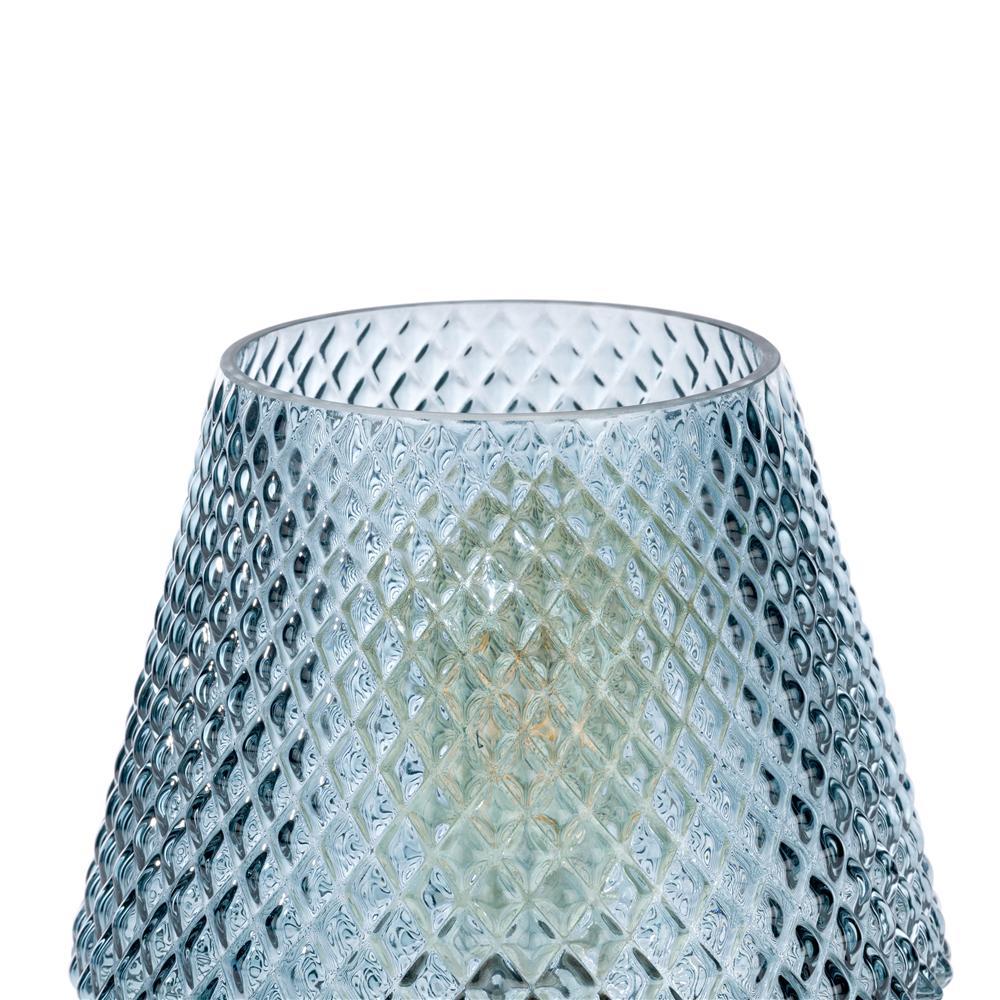 Lampe à poser en verre bleu socle or