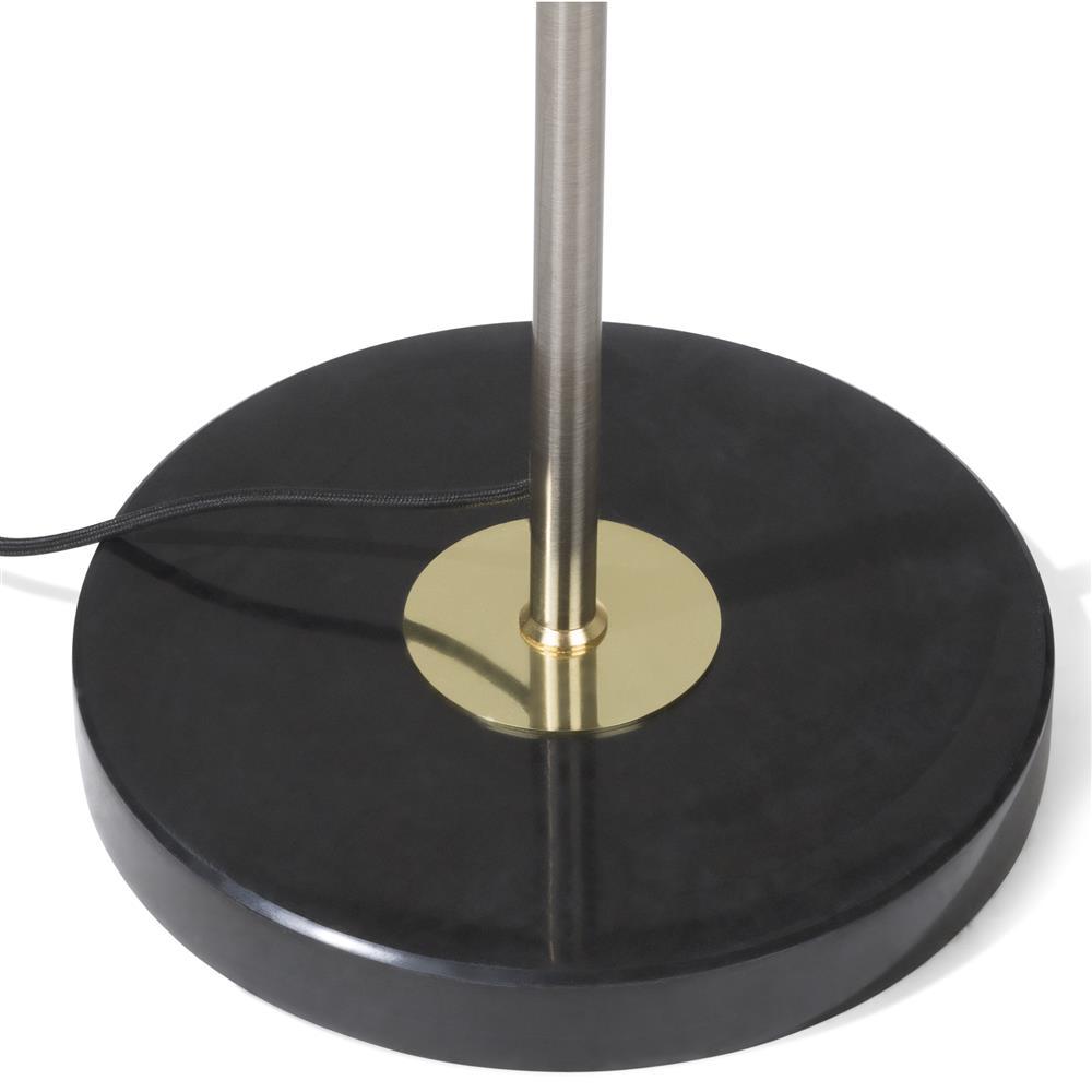 Lampadaire anneau or socle noir