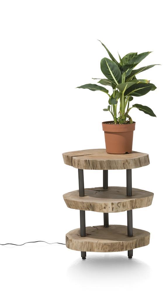 Table d'appoint en bois lumineuse 3 plateaux