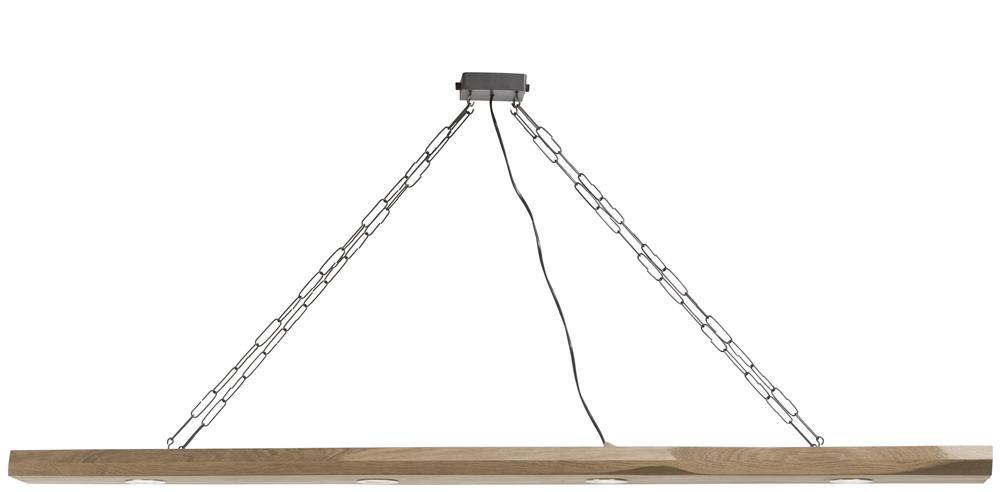 Suspension luminaire bois et chaine 4 led