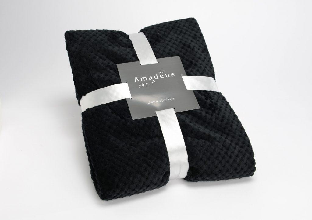 plaid noir 130x170 objet d co home villa. Black Bedroom Furniture Sets. Home Design Ideas