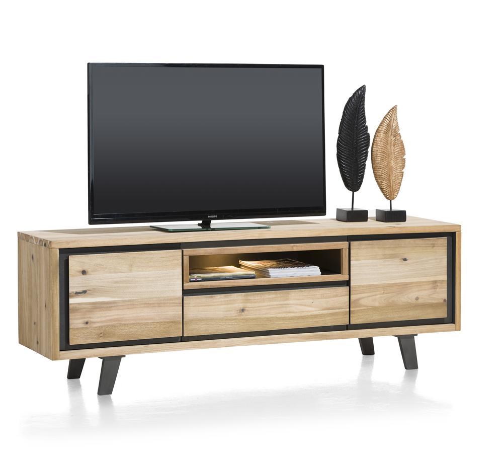 Meuble TV en bois avec détails noirs