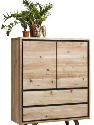 Armoire basse en bois style industriel