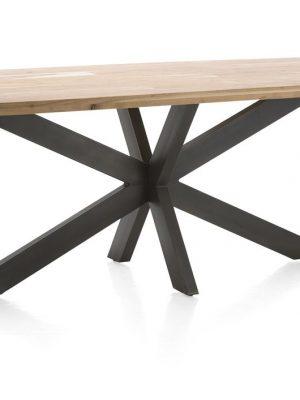 Table design plateau bois pieds noirs
