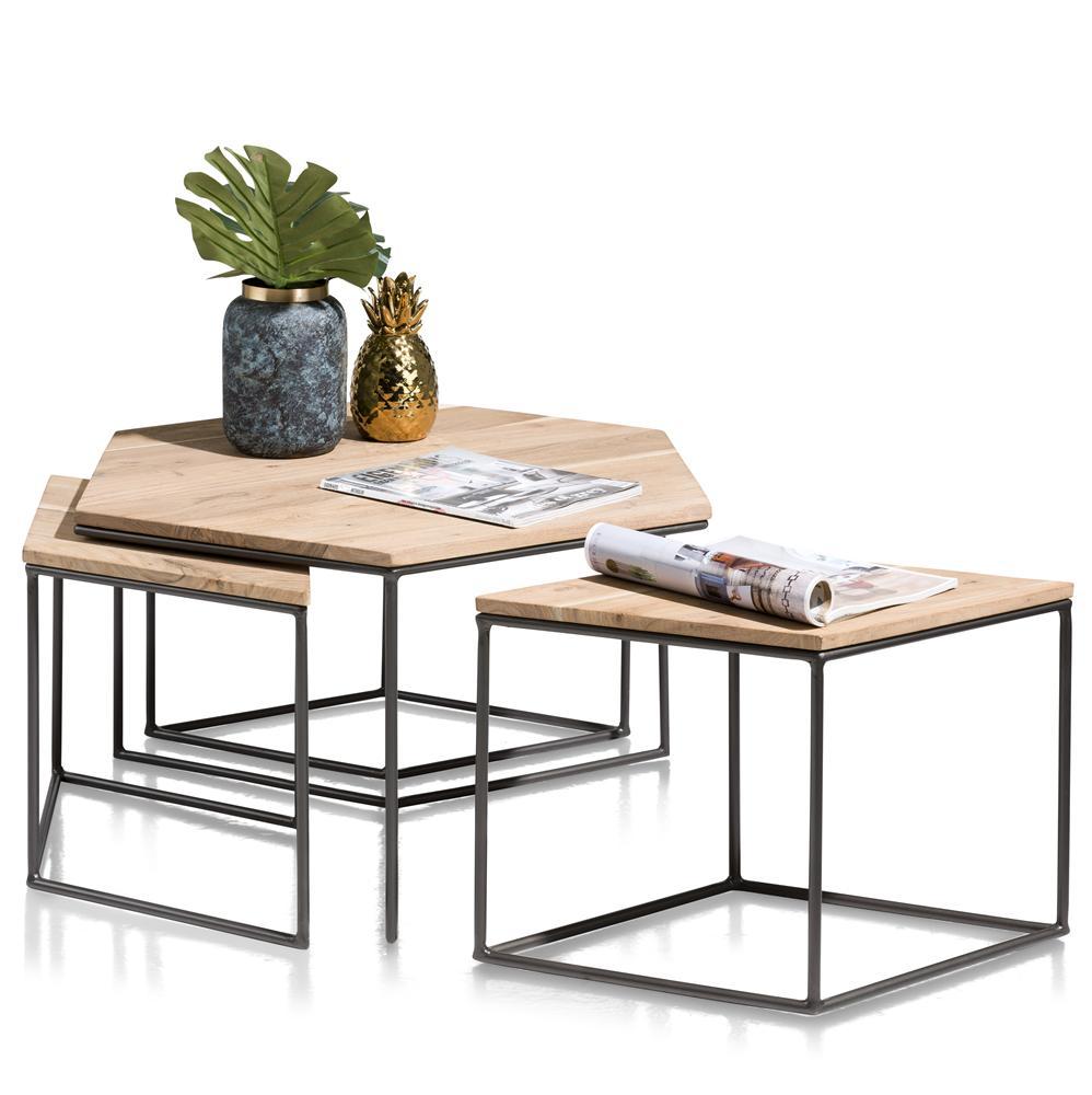 Tables gigognes plateaux bois pieds métalliques noirs