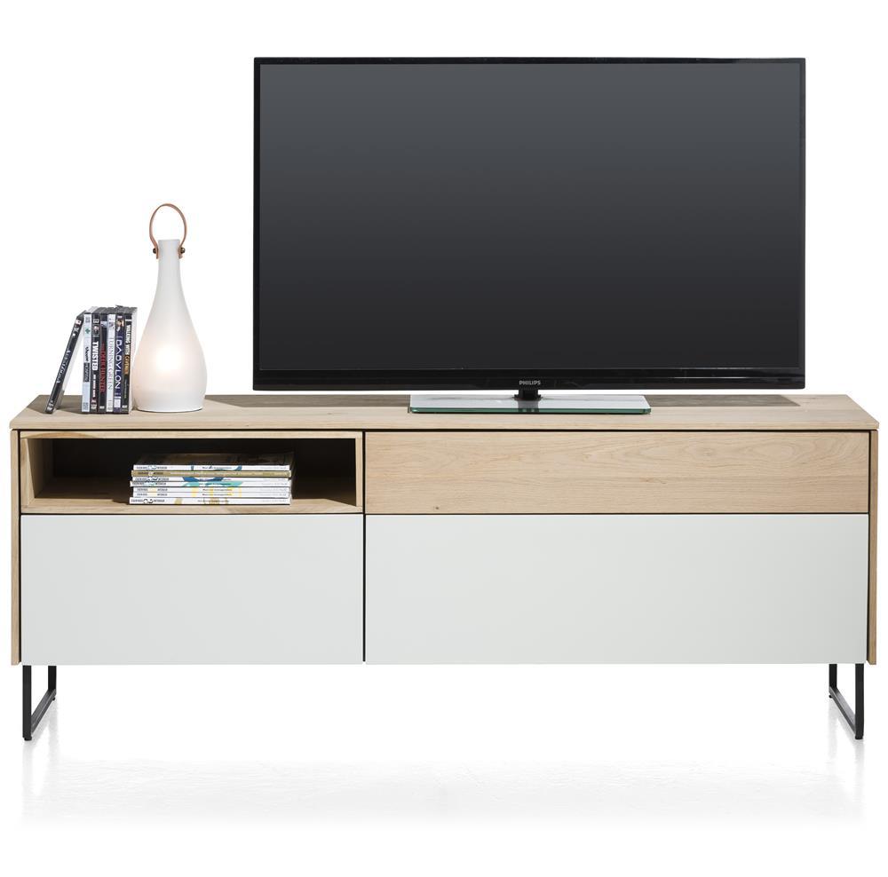 Meuble TV épuré bois et blanc