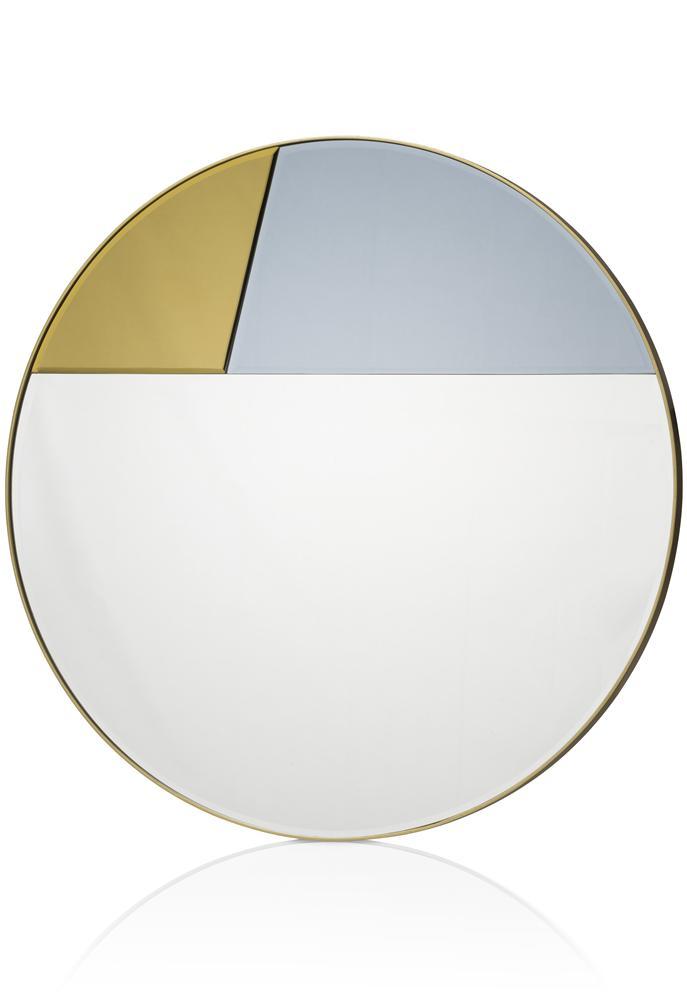 Miroir rond gold et bleu