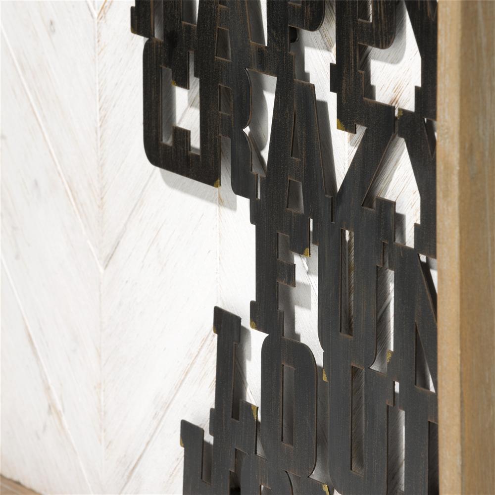 Tableau deco phrase metal noir cadre bois