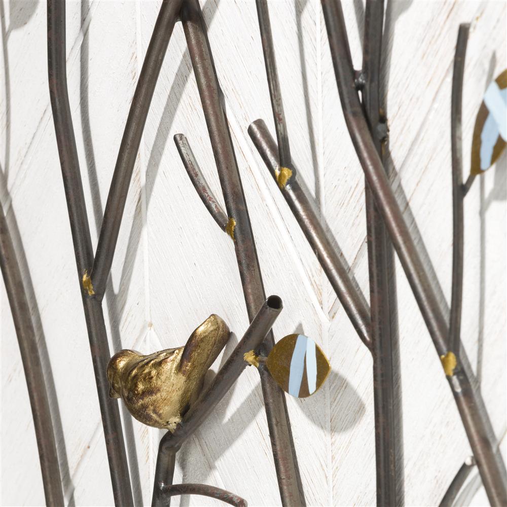 Déco murale tableau branches métalliques cadre bois