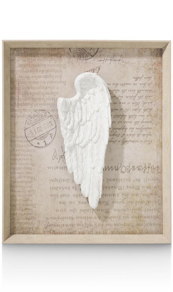Tableau aile d'ange blanche fond beige