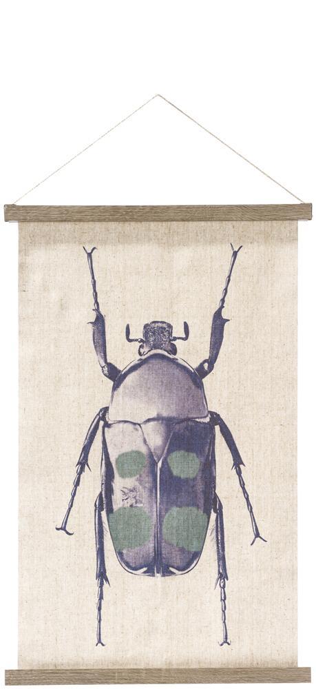 Déco murale toile lin beige motif insecte bleu