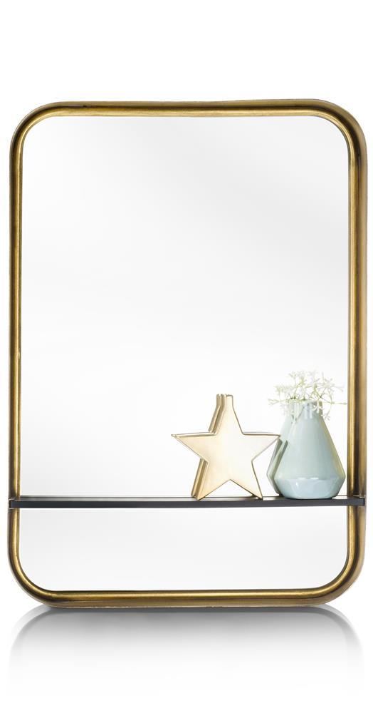 Miroir rectangulaire angles arrondis couleur or