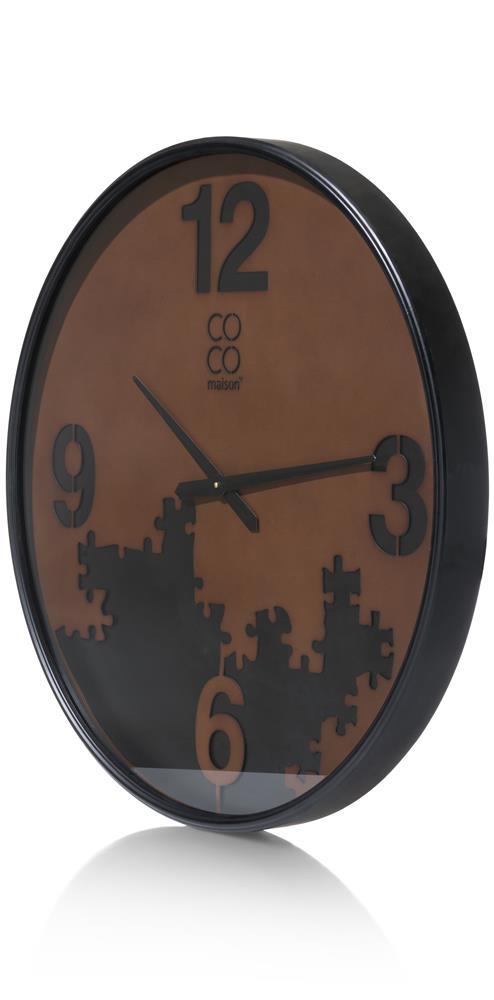 Horloge murale noire et marron
