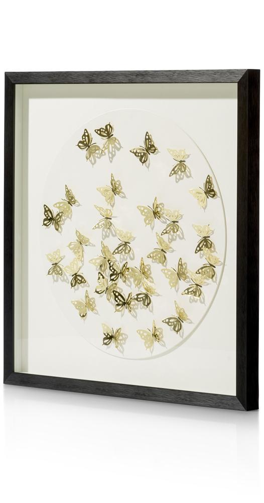 Tableau cadre noir fond blanc papillons or