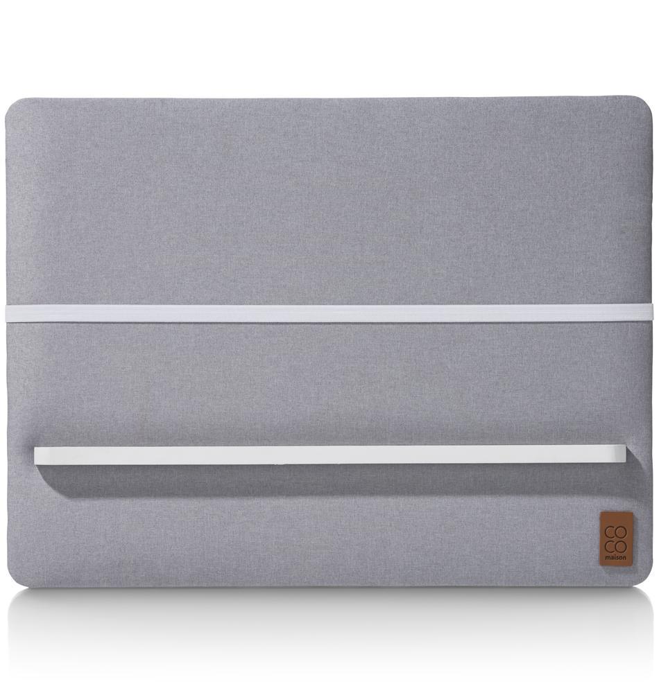 Tableau mémo fond tissu gris clair élastique blanc