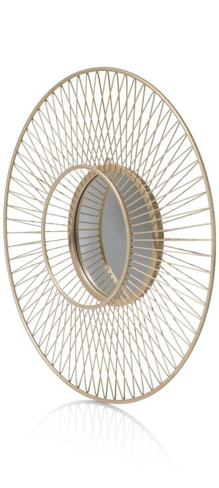 Miroir rond couleur or inspiration soleil