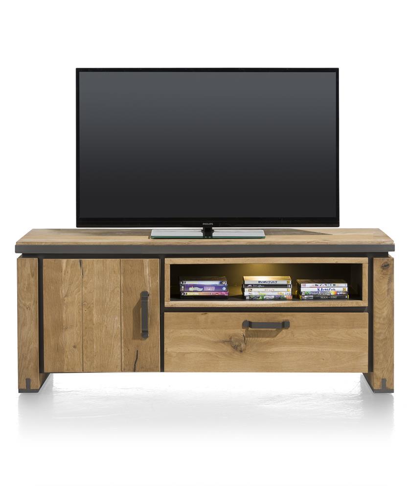 Meuble TV en bois avec accents métalliques noirs