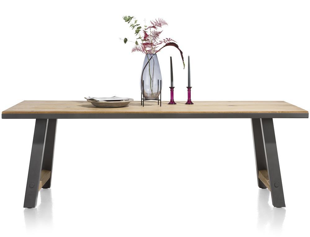 Table de repas fixe plateau bois et pies noirs