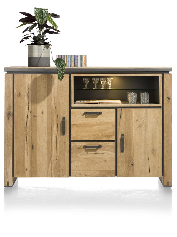 Buffet haut en bois avec accents métalliques noirs