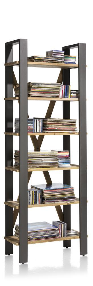 bibliothèque en bois avec cadre métallique noir