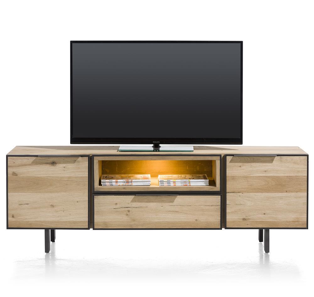 Meuble TV bois détails métal noir et LED