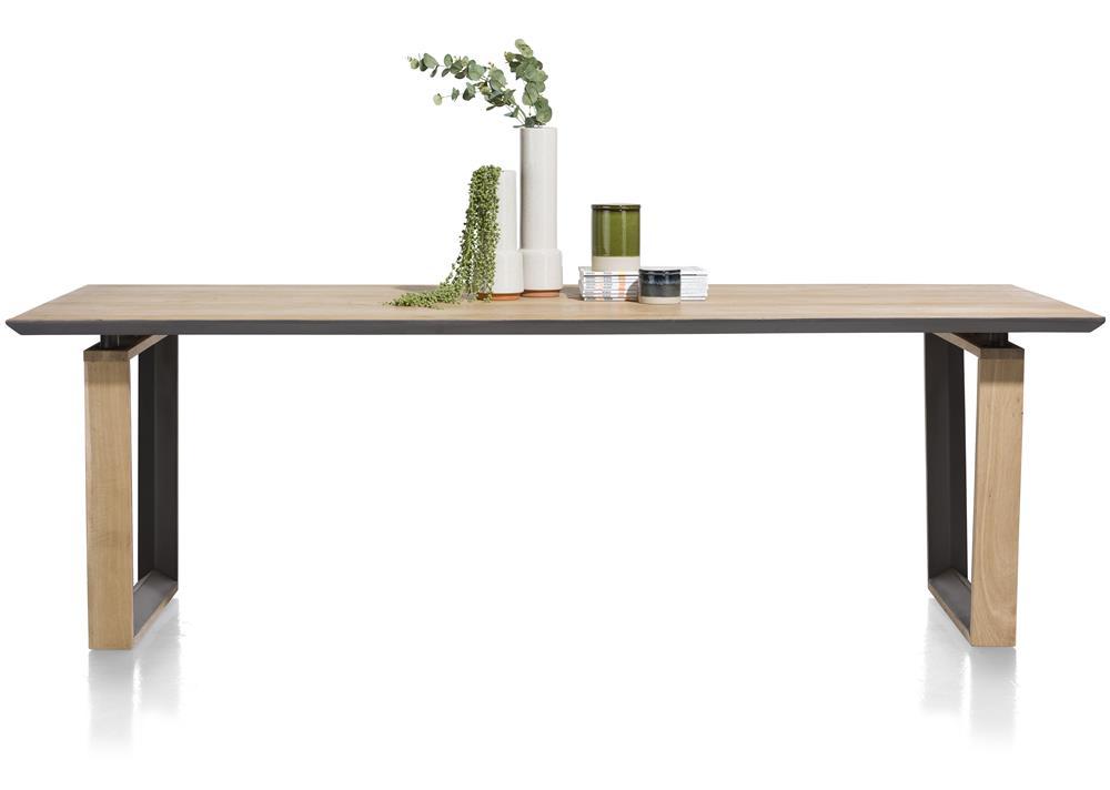 Table à manger en bois détails noirs