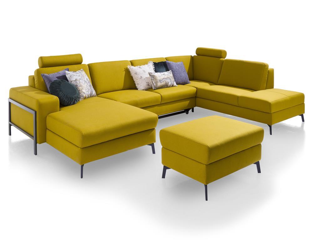 Canapé d'angle jaune avec pouf
