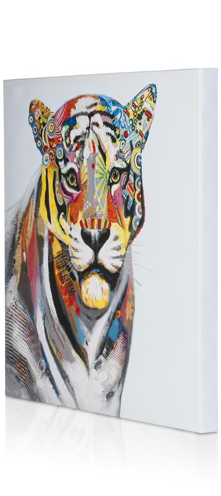 Peinture tête de tigresse multicolore