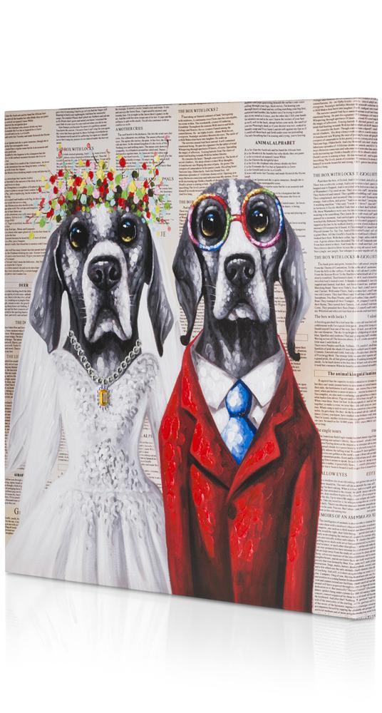 Peinture mariage de chiens