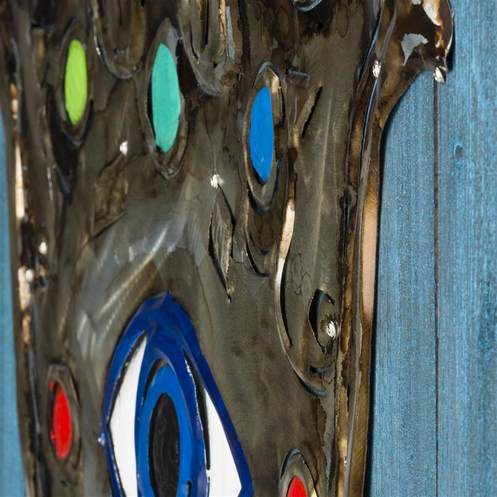 Tableau symbole hamsa en métal sur fond bleu en bois