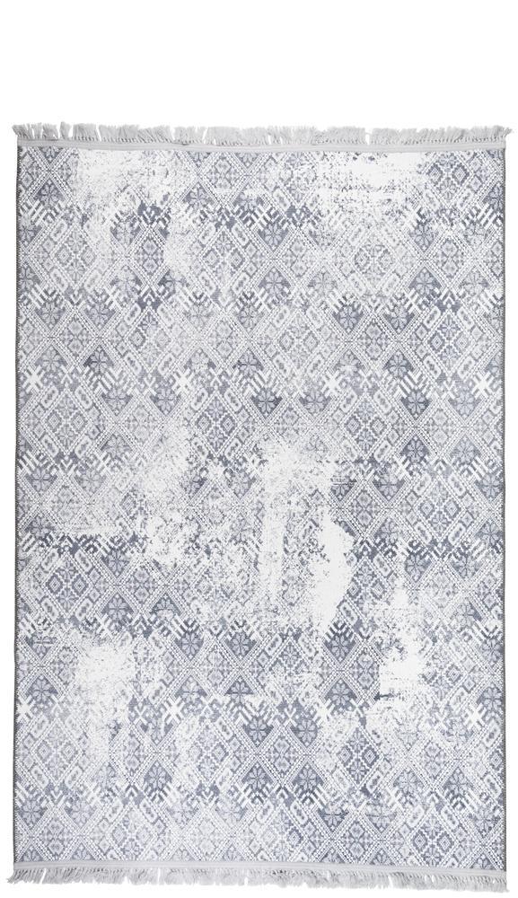 Tapis rectangulaire double face gris et blanc