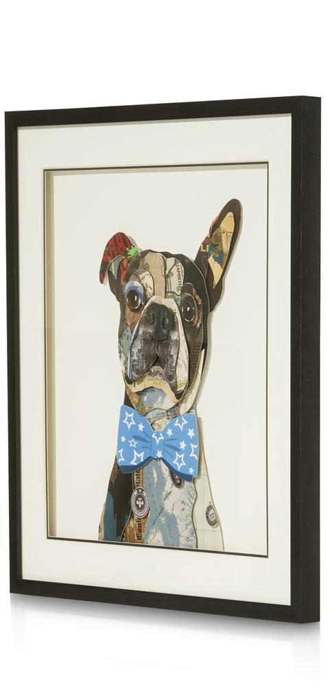 Peinture Bulldog avec noeud papillon bleu