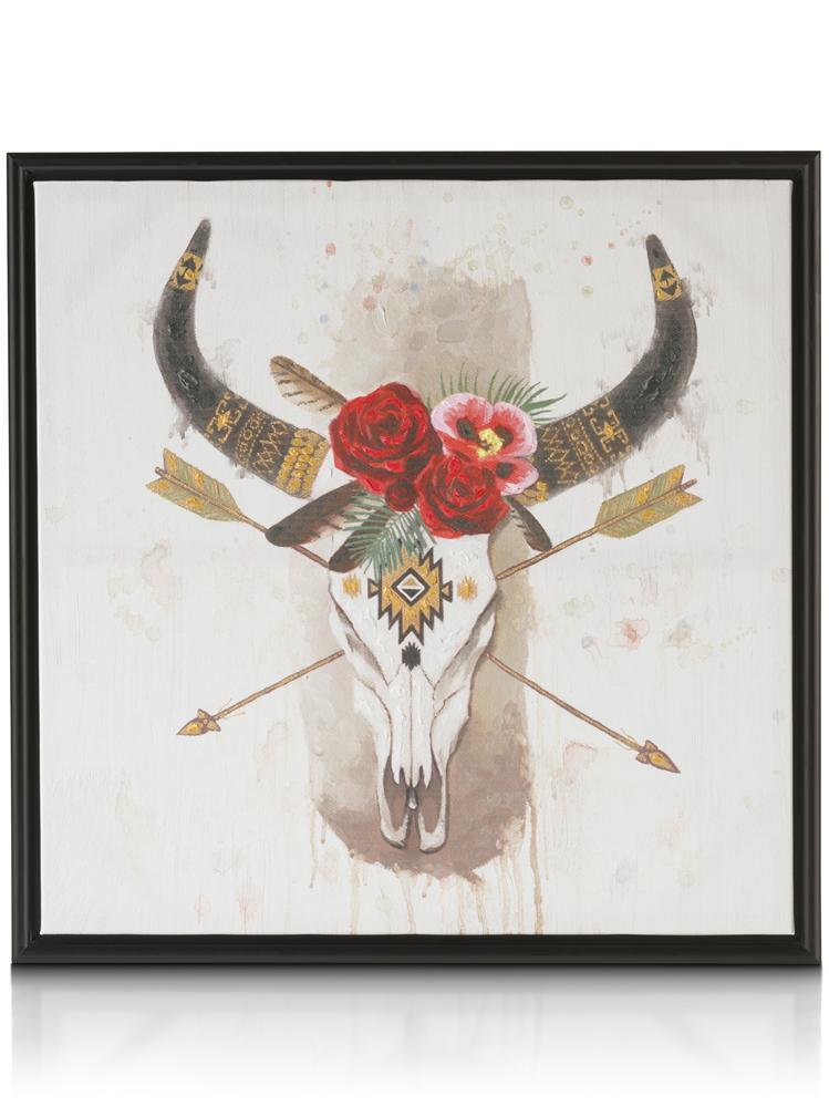 Peinture crâne animal avec fleurs et motifs aztèques